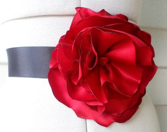 Royal red satin handcrafted flower rose sash on black for bridesmaid, wedding, prom and formal