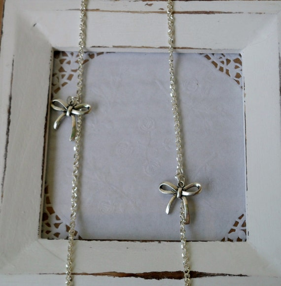 Long sterling silver twist curb chain bow necklace- The Bowalicious- pretty necklace for prom, date little black dress