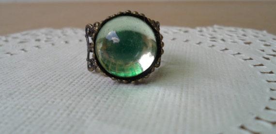 Gypsy filigree wrap ring in mint green