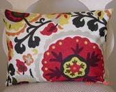NEW Decorative Pillow Cover,   Cream, Red, Yellow, Grey  Suzani  Fabric  12 x 16 Lumbar  Throw Pillow   Cushion
