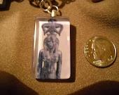 Ancient Egyptian goddess Seshat Glass Tile Pendant