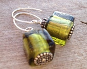 Silver and Glass Earrings - Olive