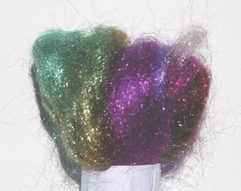Nylon firestar fiber spinning hand painted in Belvedere Bird of Paradise colorway