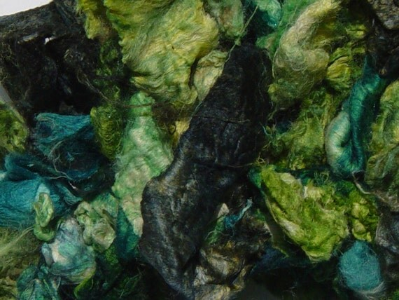 """Silk carrier """"rods"""" hand-dyed in greens for spinning, papermaking, weaving"""