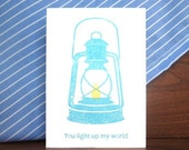 Tilly Lamp of Love Blue Greeting Card... You Light Up My Life Gocco Hand Printed Card