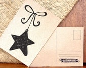 Falling Christmas Star Postcards Set Of 5... Printed On Eco Friendly Brown Card