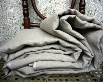 Extra wide pure linen fabric -Grey Sand-