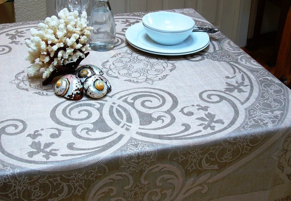 Linen tablecloth -Versailles- Eco-friendly, damask linen, home and living,