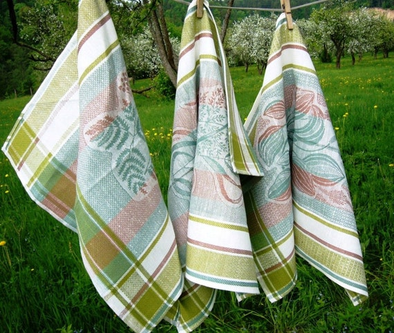 Kitchen towel set -Herbs- tea towels, linen towels, damask towels,