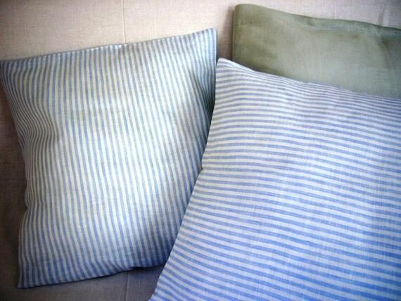 Linen Pillowcase set -Blue Mare- linen bedding, decorative pillow, striped linen,