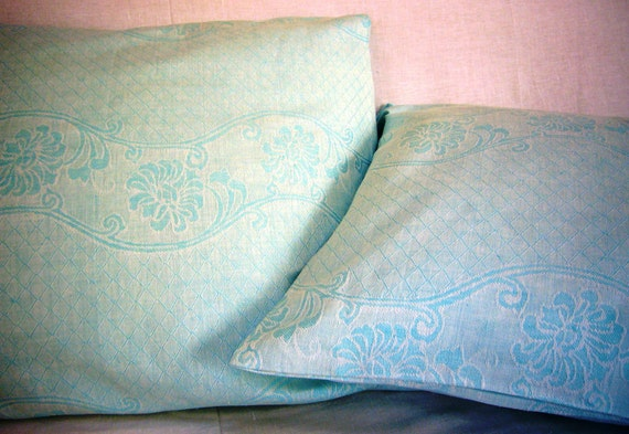 Pillowcase set damask linen -Seaside-