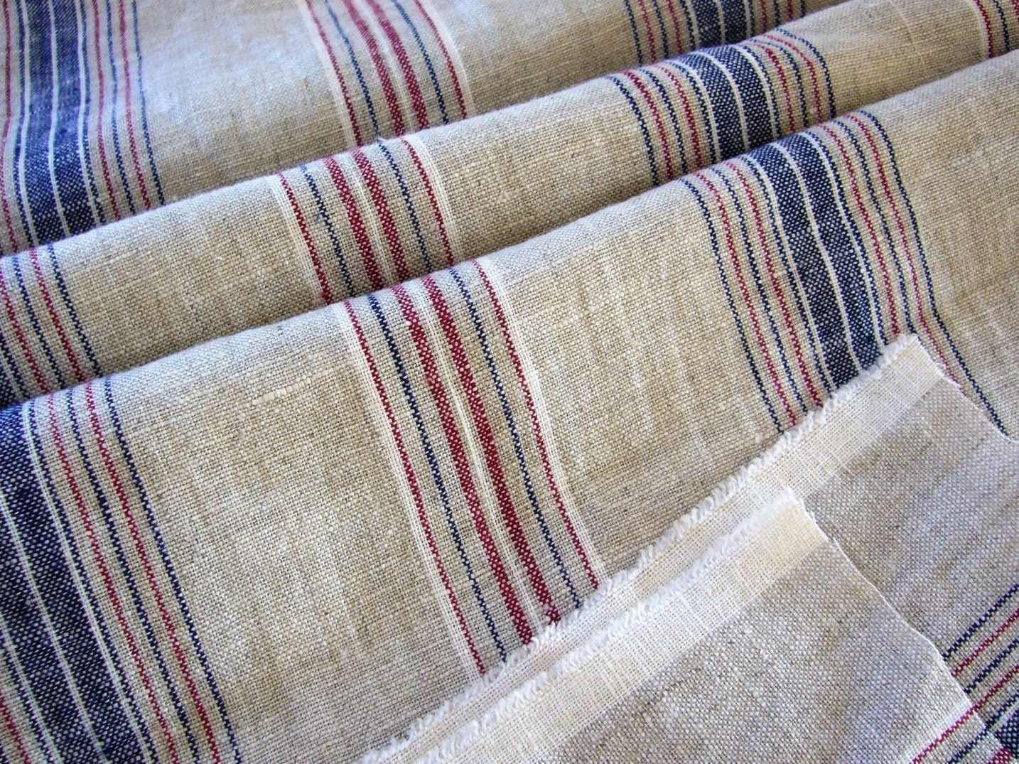 Linen Fabric French Style Striped Riviera Reserved