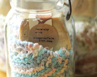 Aunt Elizabeth's Gift Set - Handmade Soap and Knitted Washcloth in Vintage PINT SIZE  Glass Top Jar