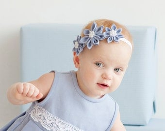 Light blue girl headband - Flower girl headband - Baby girl head band - infant headband - Baby flower headband - First birthday headband