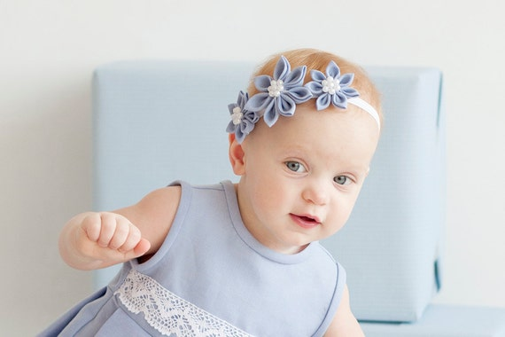 Girl  blue Headband - Light blue flower girl linen  headband  - Flower girl hair accesssories - Special occasion girl head band