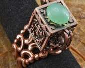 Prayer Box / Poison / Apothecary Ring in Copper with Chrysoprase Cabochon