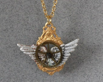 Steampunk Wings and Gear Pendant