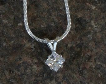 1 Carat Solitare Pendant White Diamond Simulant In Sterling