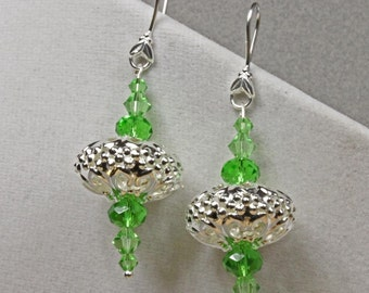 Swarovski Crystal and Sterling Earrings Green and Silver