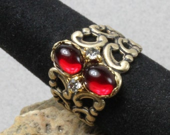 Ornate Ruby Glass Filigree Ring Adjustable 5-10