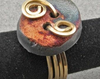 Raku button Ring in Gold filled