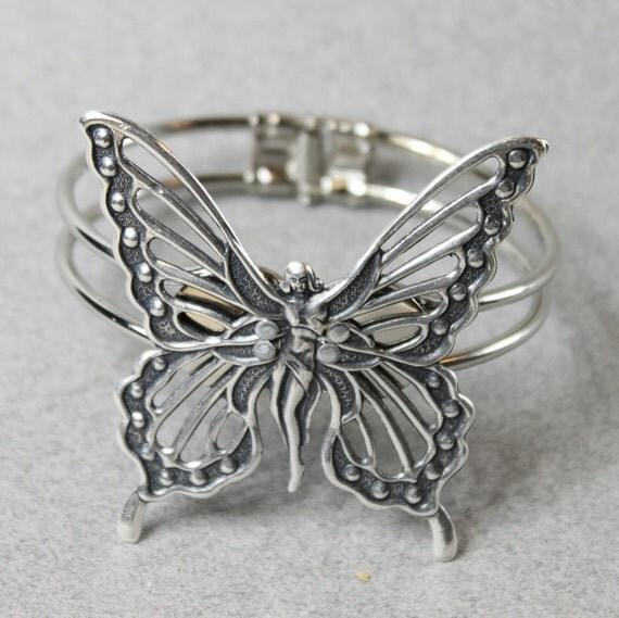 Silver Fairy/ Butterfly Hinged Bracelet