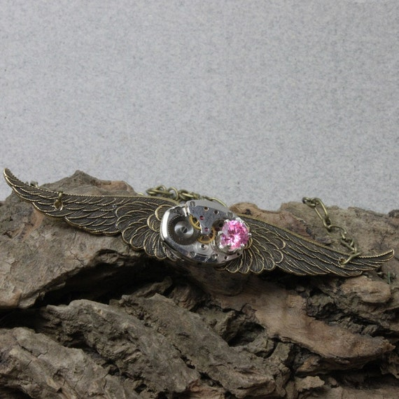 Steampunk Flying Time Necklace