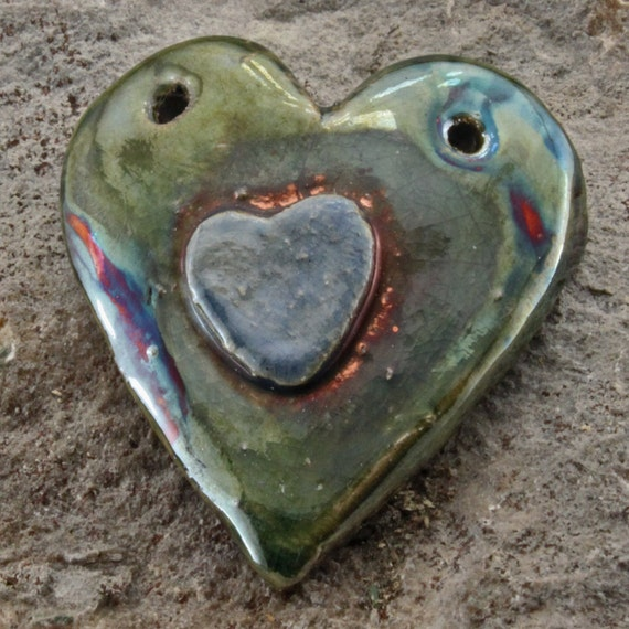 Raku Double heart Pendant