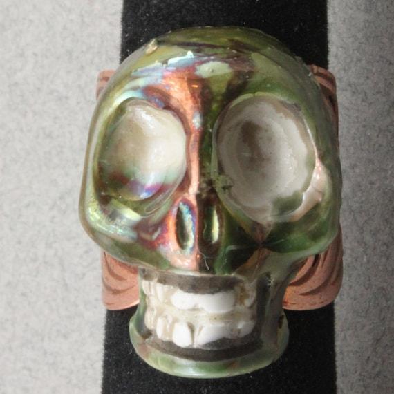 Raku skull Filigree Ring