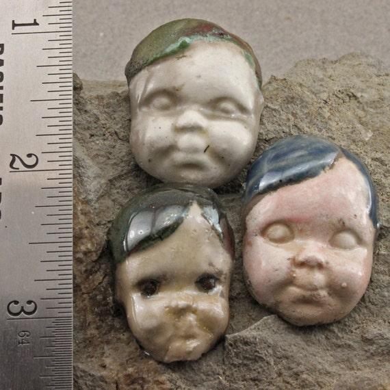 3  Handmade Frozen Charlotte Doll Head Cabochons in Raku