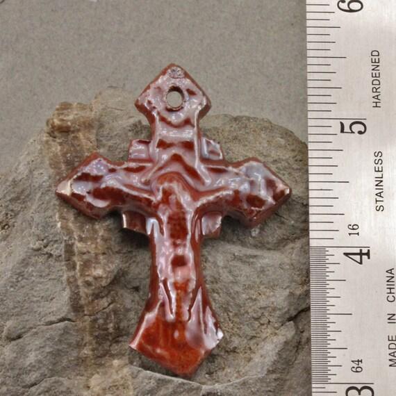 Raku Crucifix Handmade and Glazed
