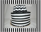 10 Yds WHOLESALE 1.5 Inch BLacK TAFFY Stripes grosgrain ribbon LOW Shipping Cost