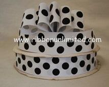10 Yds WHOLESALe 1.5 Inch WHITe-BLaCK JUMBo PoLKA DoT grosgrain ribbon LOW SHIPPING COST