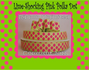 10 Yds WHOLESALE 7/8 Inch Lime-Shocking Pink Jumbo Polka Dots grosgrain ribbon LOW SHIPPING Cost