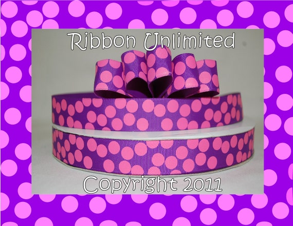 10 Yds WHOLESALE 7/8 Inch Purple-Hot Pink Sugar Dots grosgrain ribbon LOW SHIPPING Cost