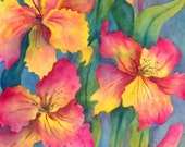 Watercolor of Spring Flowers Pink Yellow - Original Painting Martha Kisling