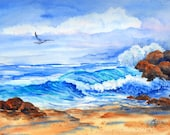 Painting of Waves and Rocks on Beach With Seagull - Original Martha Kisling Watercolor