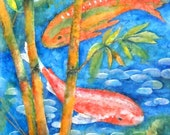 Collage Watercolor of Koi and Bamboo by Colorado Artist Martha Kisling