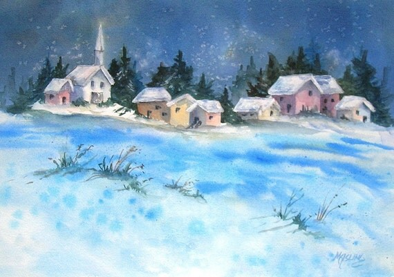 STUDIO SALE - Watercolor Painting of Small Town at Night - Martha Kisling Painting