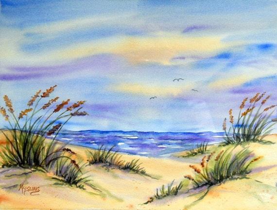 Watercolor Seascape Calm Skies - Martha Kisling Original Painting