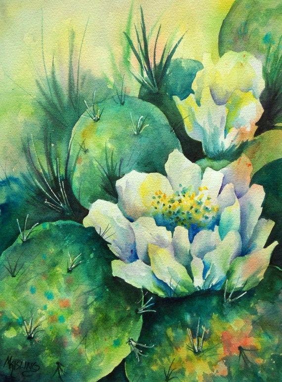 Watercolor Of Southwest Cactus With White Flowers Original