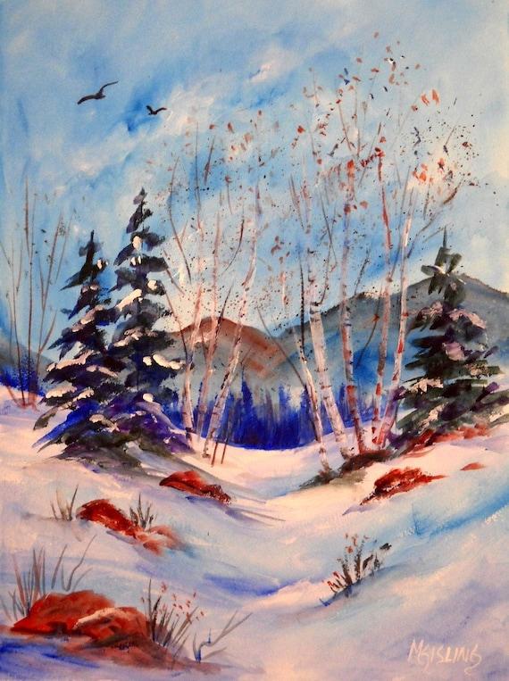 Acrylic Painting of Winter Trees in Snow -  Original Art