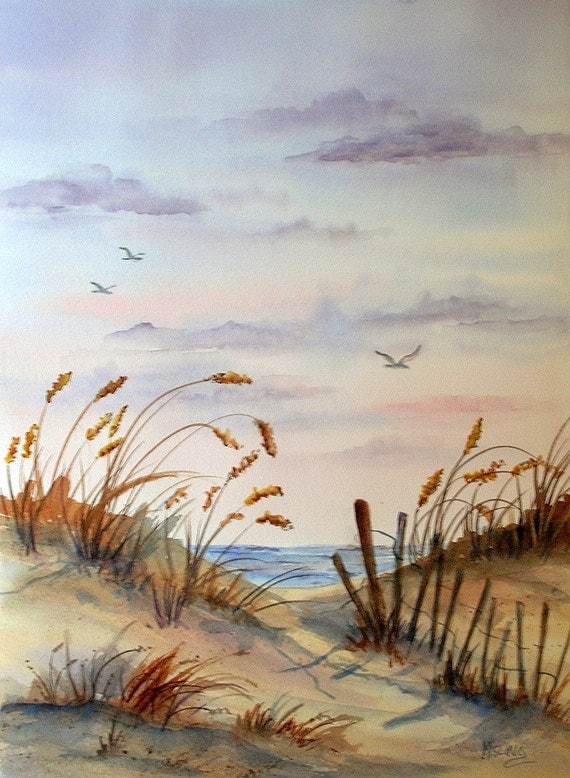 Watercolor Of Beach Seascape Birds Flying By Colorado Artist