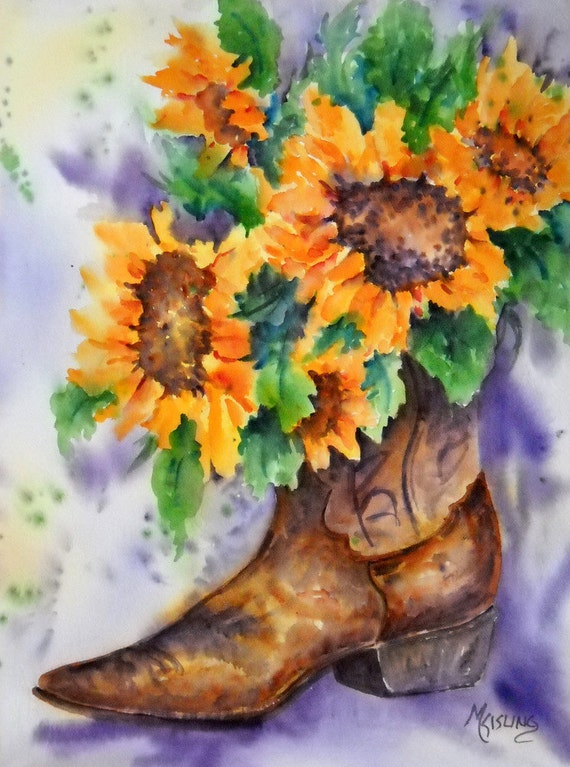 Watercolor Of Cowboy Boot And Sunflowers Original Martha