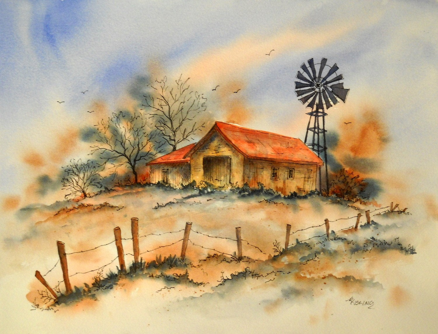 STUDIO SALE Ink Drawing and Watercolor of Old Building and