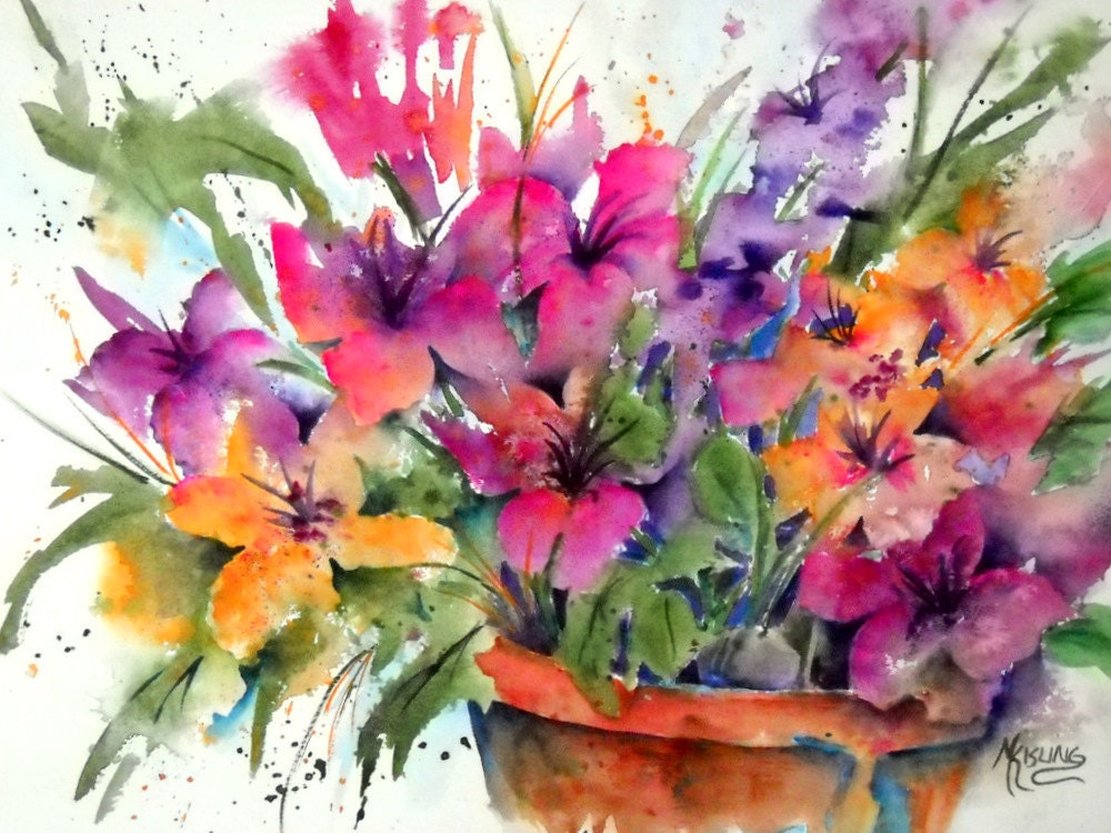 watercolor of spring flowers in pot colorful martha kisling