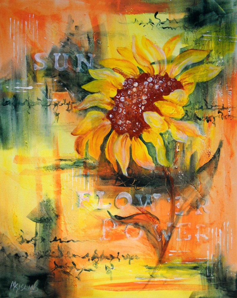 Abstract acrylic painting of large sunflower martha kisling for Painting large flowers in acrylic