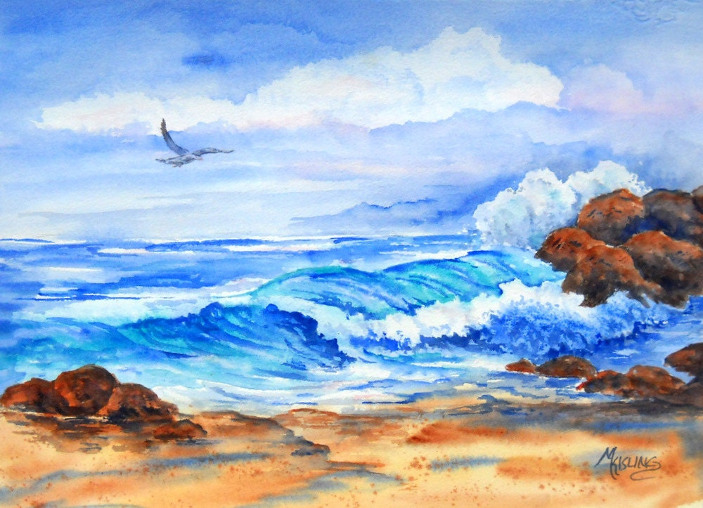 Painting Of Waves And Rocks On Beach With By Marthakislingart