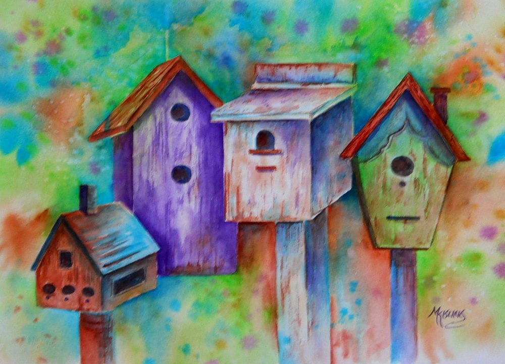Watercolor Of Country Colorful Birdhouses By Colorado Artist