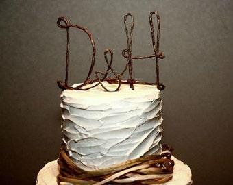 Rustic Initials Cake Topper , Personalzied Wedding Cake Topper, Shabby Chic Monogram Wedding Cake Topper, Custom Rustic Wedding Cake Topper